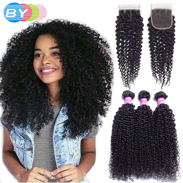 fb522fb7874 US $30.77 70% OFF|BY Brazilian Kinky Curly Hair Bundles With Closure 100%  Remy Human Hair Bundles With Closure Free Part Natural Hair Extension-in  3/4 ...