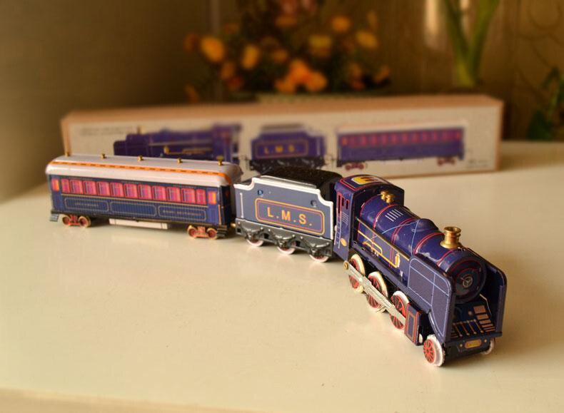 Horloge classique rétro étain jouets Rare horloge train Section trois chariots Collection