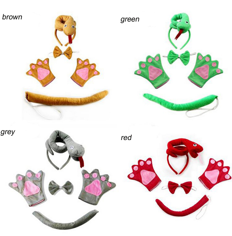 Free shipping children Animal set green brown red grey snake hairband headband headwear tail bow tie gloves