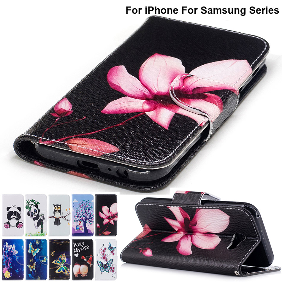 Ass Lotus PU Leather + TPU Silicone Case For Samsung Galaxy J3 2017 J5 A5 S7 Edge S8 Plus Cover For iPhone 7 6S SE B116