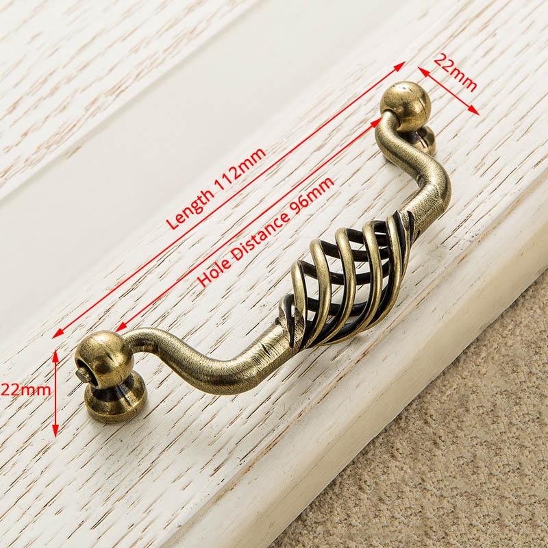 KAK винтажные антикварные бронзовые ручки для шкафа, полые ручки для птичьей клетки, ручки для выдвижных ящиков, Съемники дверей шкафа, Мебельная ручка - Цвет: 3201-96 Bronze