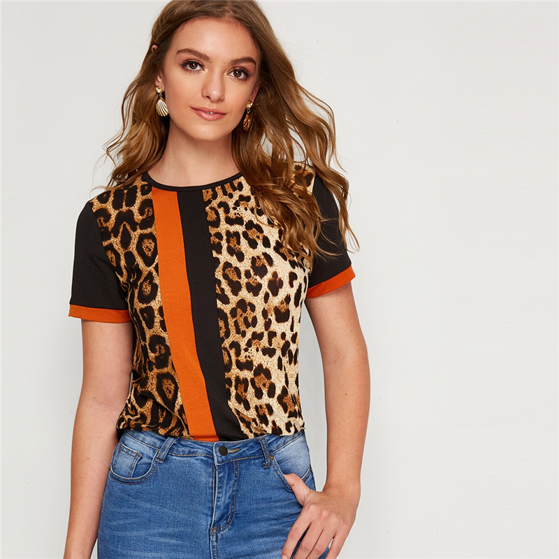 Block Cut-and-Sew Leopard Panel Top Short Sleeve O-Neck Casual T Shirt 54
