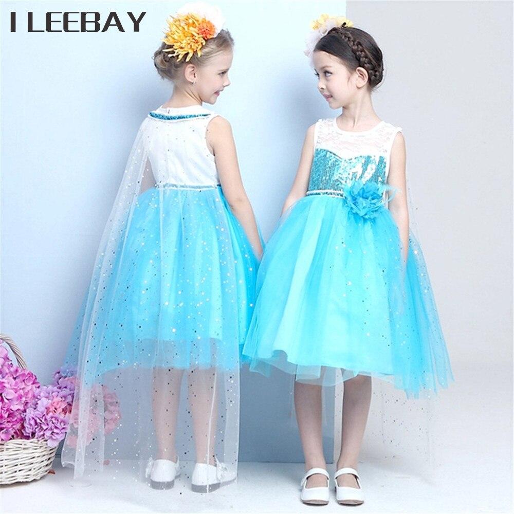 Halloween Anna Flower Girl Wedding Elsa Dress+Cape Kids Cosplay ...