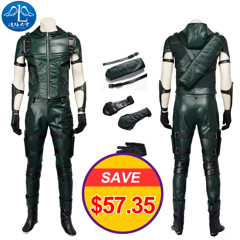 Men Cosplay Costume Oliver Queen Cosplay Green Arrow Cosplay Costume Men Full Set Cosplay Free Shipping Custom Made