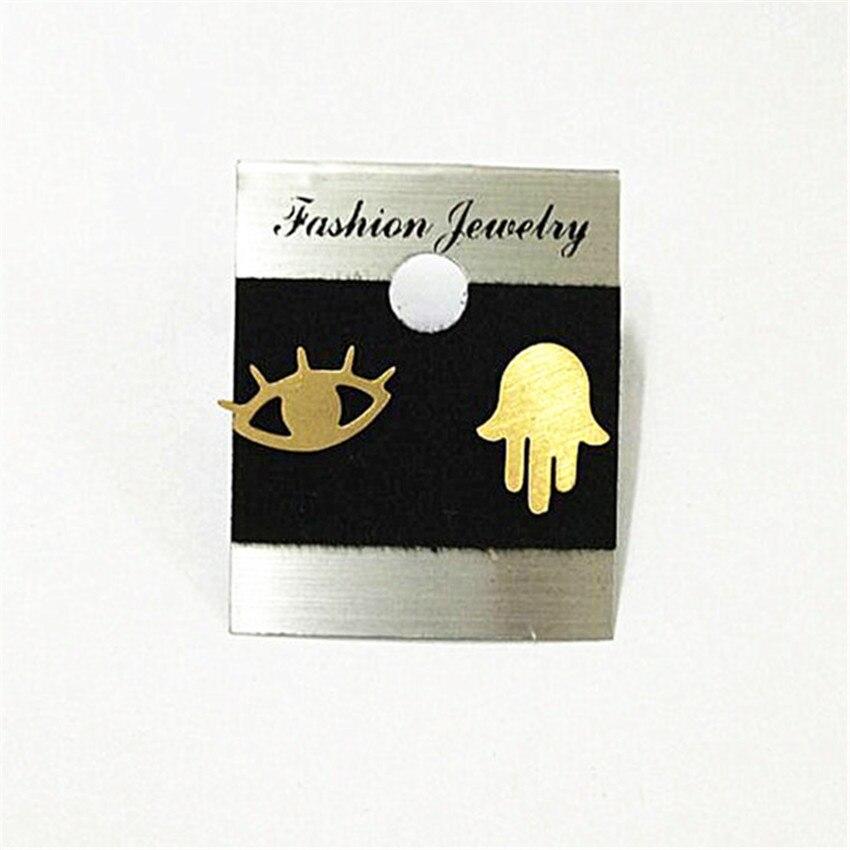 V Attract Religion Jewelry Stainless Steel Lovely Modern Evil Eye Stud Earring Women and Men Vintage Hamsa Hand Boucle D Oreille