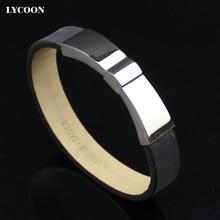 Lycoon brazaletes de acero titanium de los hombres de calidad superior negro pulsera de cuero genuino negro hombres pulseras brazaletes de diseño de italia de la marca