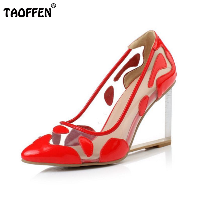 women real genuine leather wedge shoes brand fashion see through pointed toe fashion wedding heels pumps shoes size 33-42 R08691 nayiduyun women genuine leather wedge high heel pumps platform creepers round toe slip on casual shoes boots wedge sneakers
