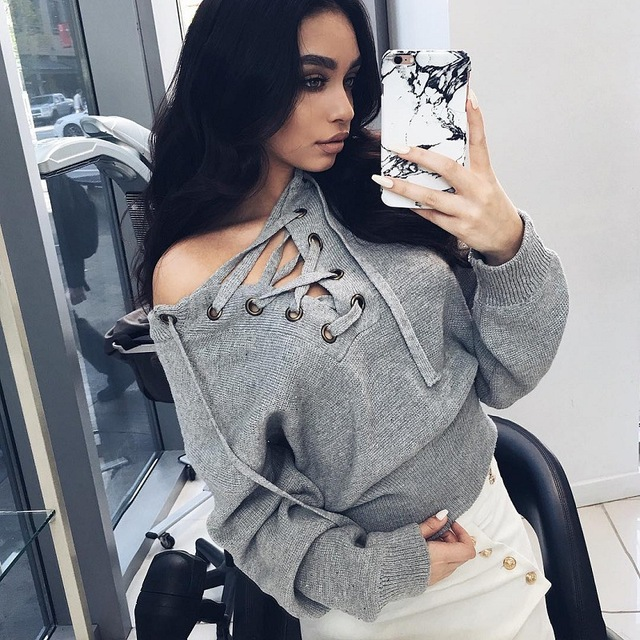 Autumn Warm Pullovers Short Off Shoulder Lace Up Knitted Sweater