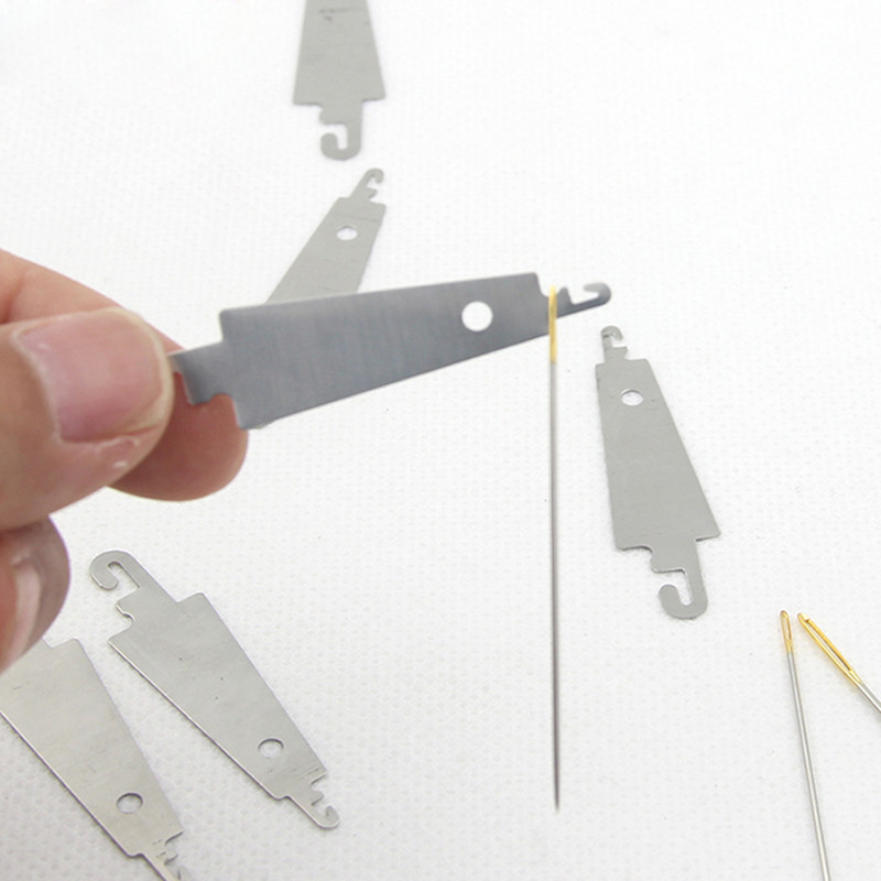 10 pcs Steel Hook needle threader help for hand sew Ribbon embroidery cross x stitching sewing DIY tool craft needlework set
