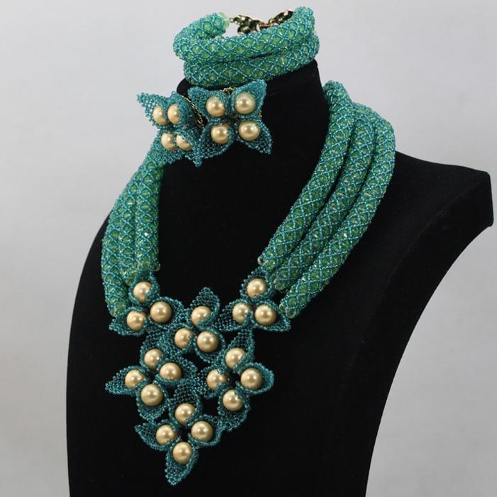 Fantastic Teal Green Wedding Nigerian Beads Jewelry Set Gold ...