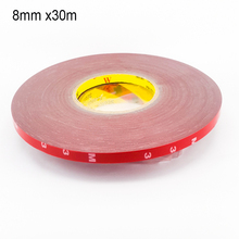 8 mm *30m acrylic double sided tape paste auto parts, high strength, no traces of adhesive Free shipping