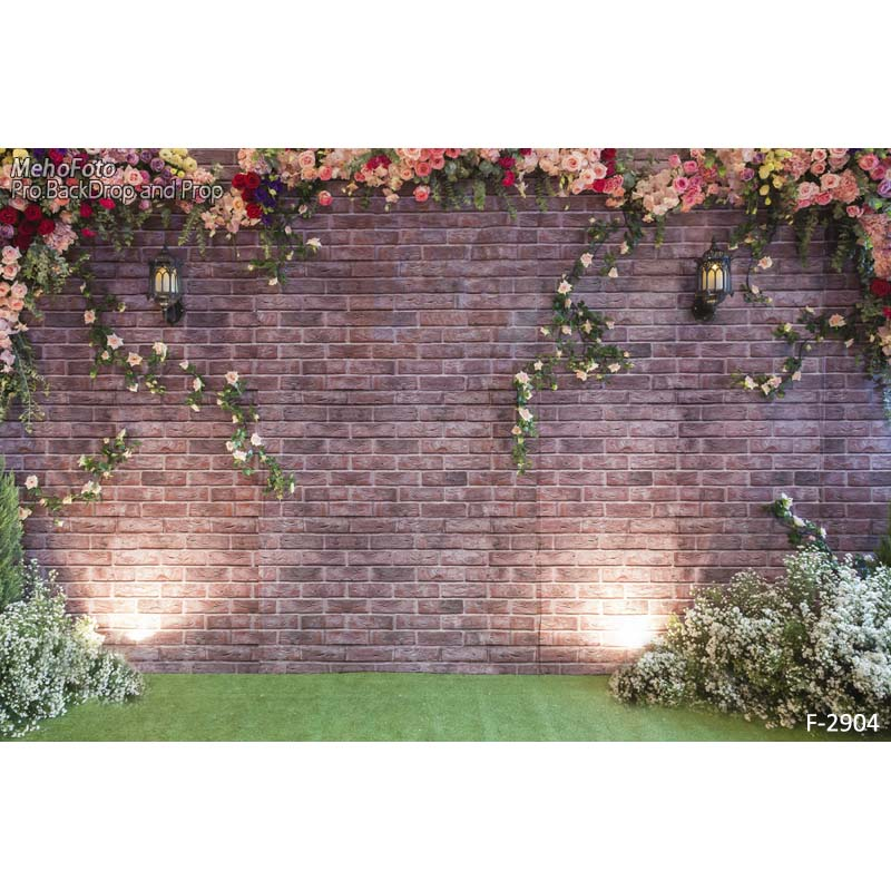 Customize vinyl brick wall flowers wedding style backgrounds photography backdrops for photo studio