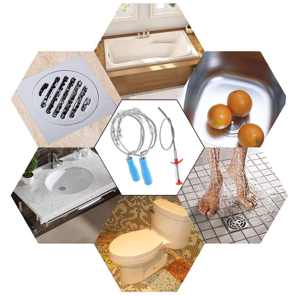 3 шт. в упаковке, средство для удаления засоров змеиной шерсти, металлический шнек для очистки слива для ванны, раковины, туалета, канализации, Kitc