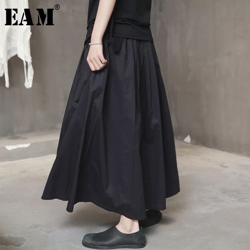 [EAM] High Waist Black Bandage Pleated Long Wide Leg Trousers New Loose Fit Pants Women Fashion Tide Spring Autumn 2019 Y90201