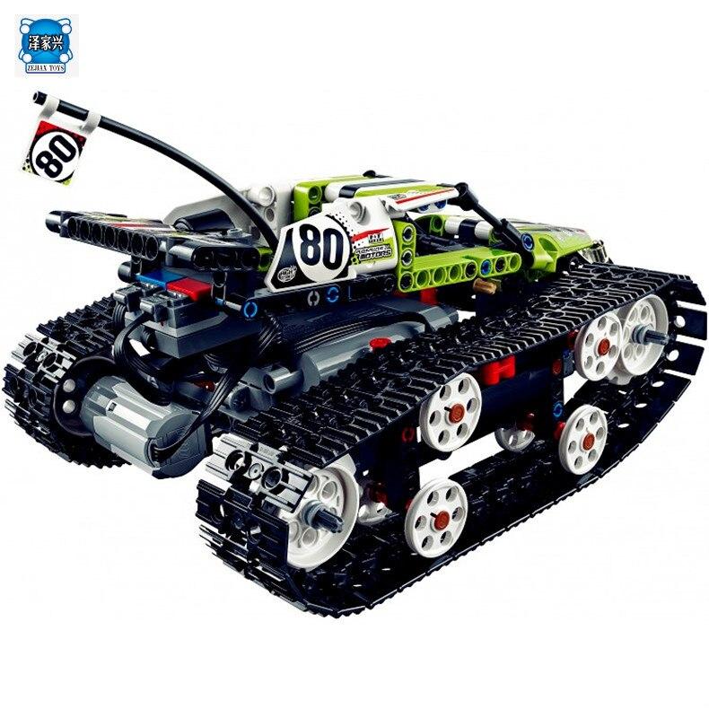 397Pcs Technic Series Remote Control Caterpillar Vehicles Building Block Bricks Figures Toys Compatible with Lepins Technic Gift technic series remote control formula