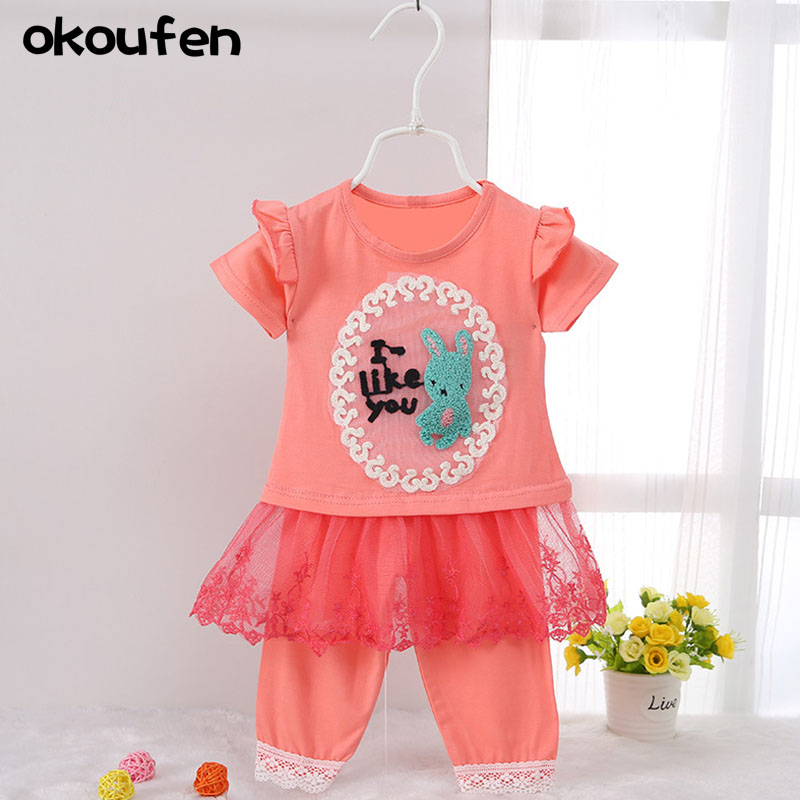 okoufen 2017 fashion baby girl clothes quality children clothes suit  summer short sleeved girls dress kids skirt sets retail