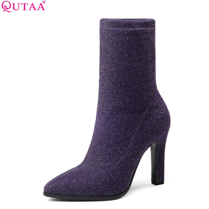 QUTAA 2019 Women Shoes Mid Calf Boots Fashion Stretch Fabric Thin High Heel Pointed Toe Sock Boots Winter Women Boots Size 34-43QUTAA 2019 Women Shoes Mid Calf Boots Fashion Stretch Fabric Thin High Heel Pointed Toe Sock Boots Winter Women Boots Size 34-43
