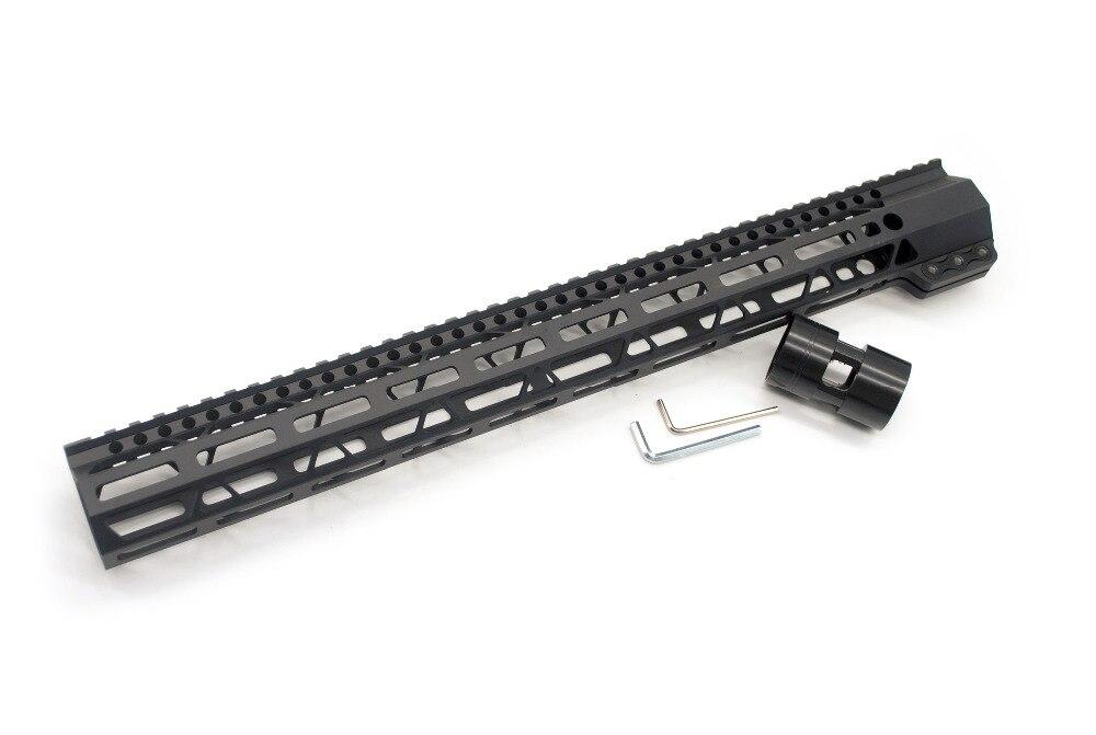 AR15 Free Float 17'' Inch Black Anodized Clamping Picatinny Rail M-lok Handguard Fit .223