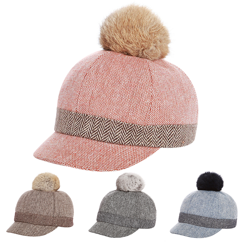 Hat Baseball-Cap Ear-Hats Bone Pom-Pom Velvet Faux-Fur Warm Autumn Girls Baby Winter