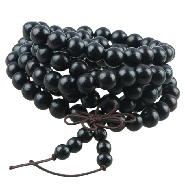 SUNYIK 8mm Black Ebony Wood 108 Tibetan Buddhist Prayer Mala Beads Bracelet Necklace