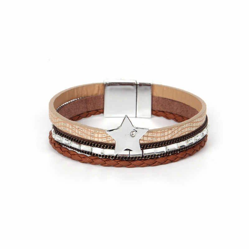 ZG Bracelet Handmade Star Pendant Bracelets & Bangles For Women Beads Pulseira De Couro Feminine Infinite PU Leather Pulseras Mu