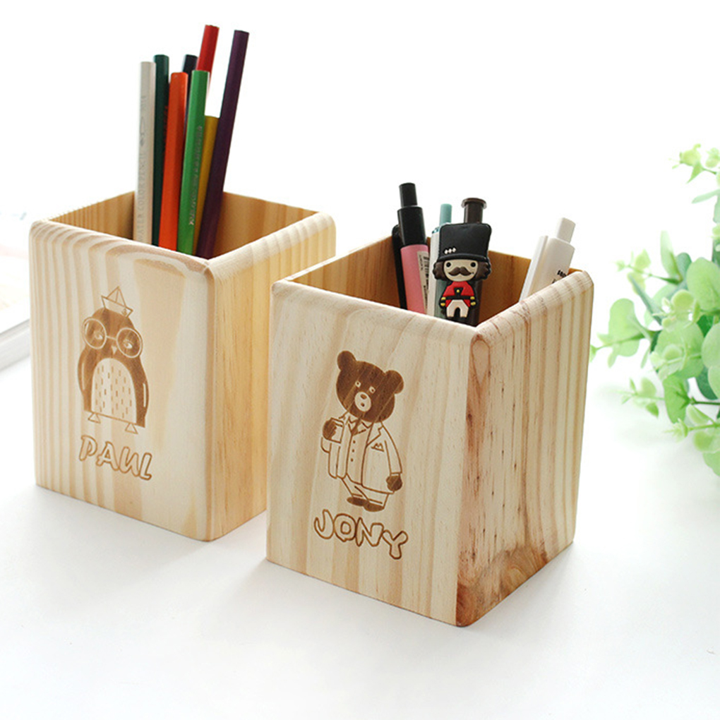 Universal Multi Purpose Use Pencil Cup Pot Desk Organizer Cartoon Wood Desk Pen Pencil Holder StandUniversal Multi Purpose Use Pencil Cup Pot Desk Organizer Cartoon Wood Desk Pen Pencil Holder Stand