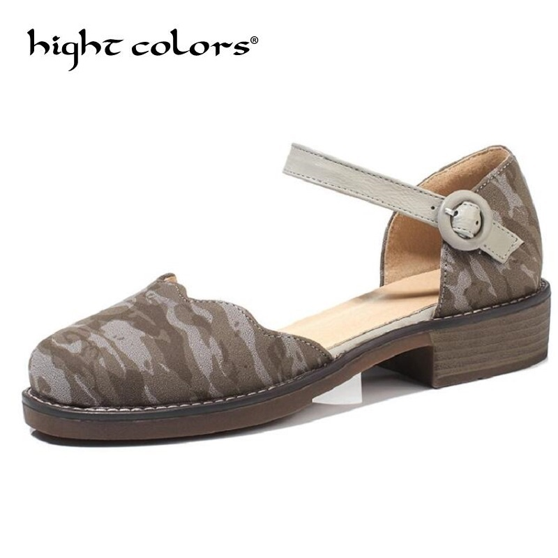 2018 New Fashion Ladies Summer Shoes Ballet Flats Women Buckle Ankle Strap Mary Jane Flats Camouflage Shoes Big Size summer women ballet flats mary jane shoes buckle strap black casual wedges shoes ladies anti slip slip on flat sapato feminino