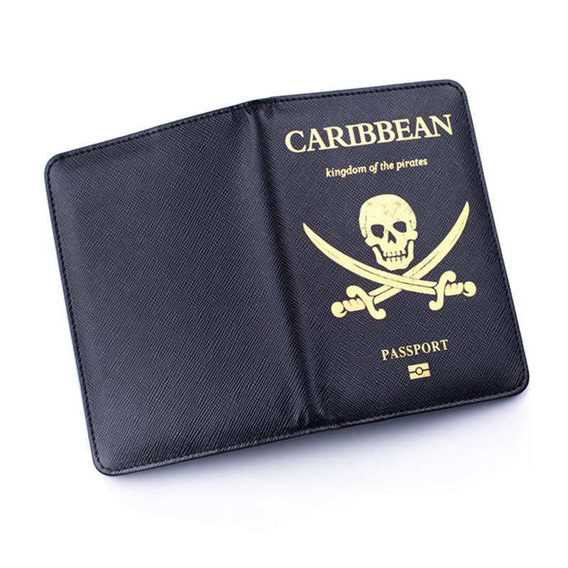 Viking Passport Cover Men Rfid Blocking Skull Cover On The Passport Case Travel Pirates Of The Caribbean Passport Holder