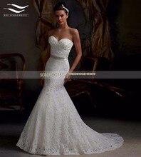 Pleat sash noiva белое реальные кружево vestido русалка люкс свадебное фото