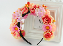 Turquoise purple sexy bride floral flower crown rose wedding accessories hair travel photography Girl Garland hair head wear