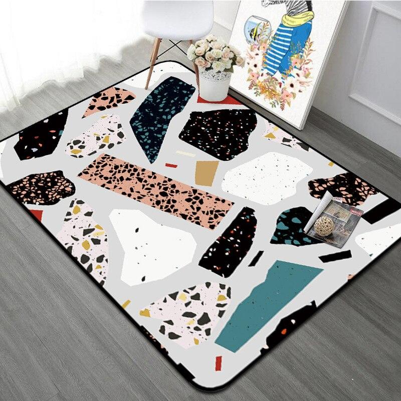 Marbre motif moderne géométrique tapis maison décoratif anti-dérapant salon tapis épaissir Rectangle chambre tapis lit côté Floormat
