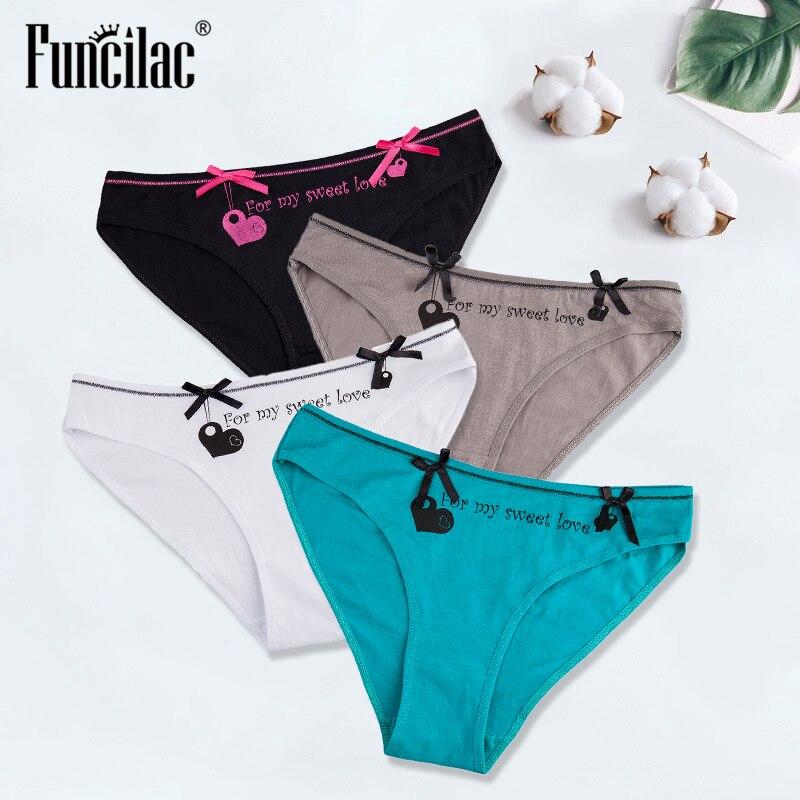 Sexy Women's   Panties   Cotton Underwear Briefs for Ladies Bikini Girls Heart Print Lingerie Knickers Underpants 4 Pcs/lot FUNCILAC
