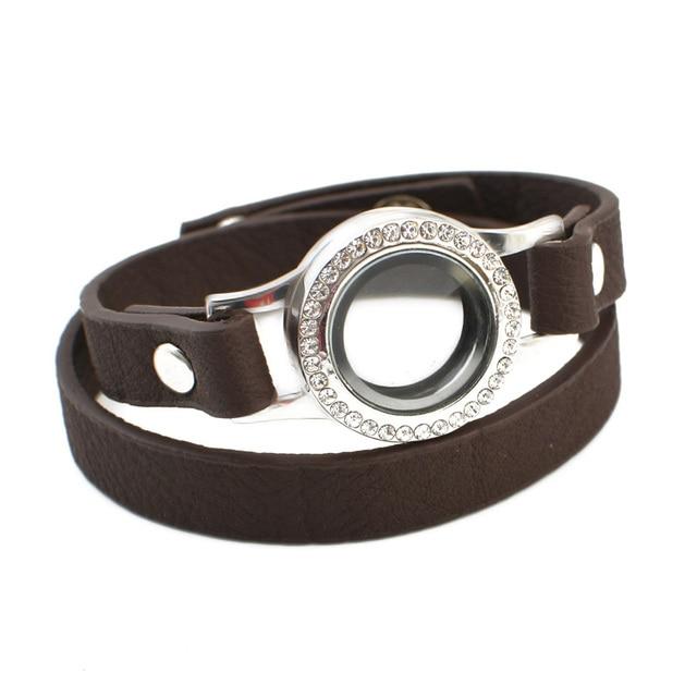 Free Shipping Openable Magnet Gl Locket Leather Strap Bracelets Bangles Floating Charm Bracelet