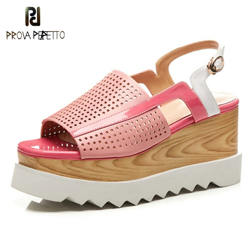 Prova Perfetto 2018 Rome Fish Head Platform Muffin Sandals High Heels Summer Shoes Woman Real Leather Hollow Out Wedges Sandals prova perfetto bling bling crystal floraal sandals women hollow out high heel slipper comfort muffin platform pink girl shoes