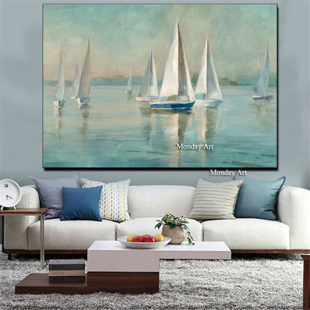Seaside Scenery Abstract Oil Painting Decor Canvas Painting Artwork Handpainted Landscape Night Decoration For Home Room Wall in Painting Calligraphy from Home Garden