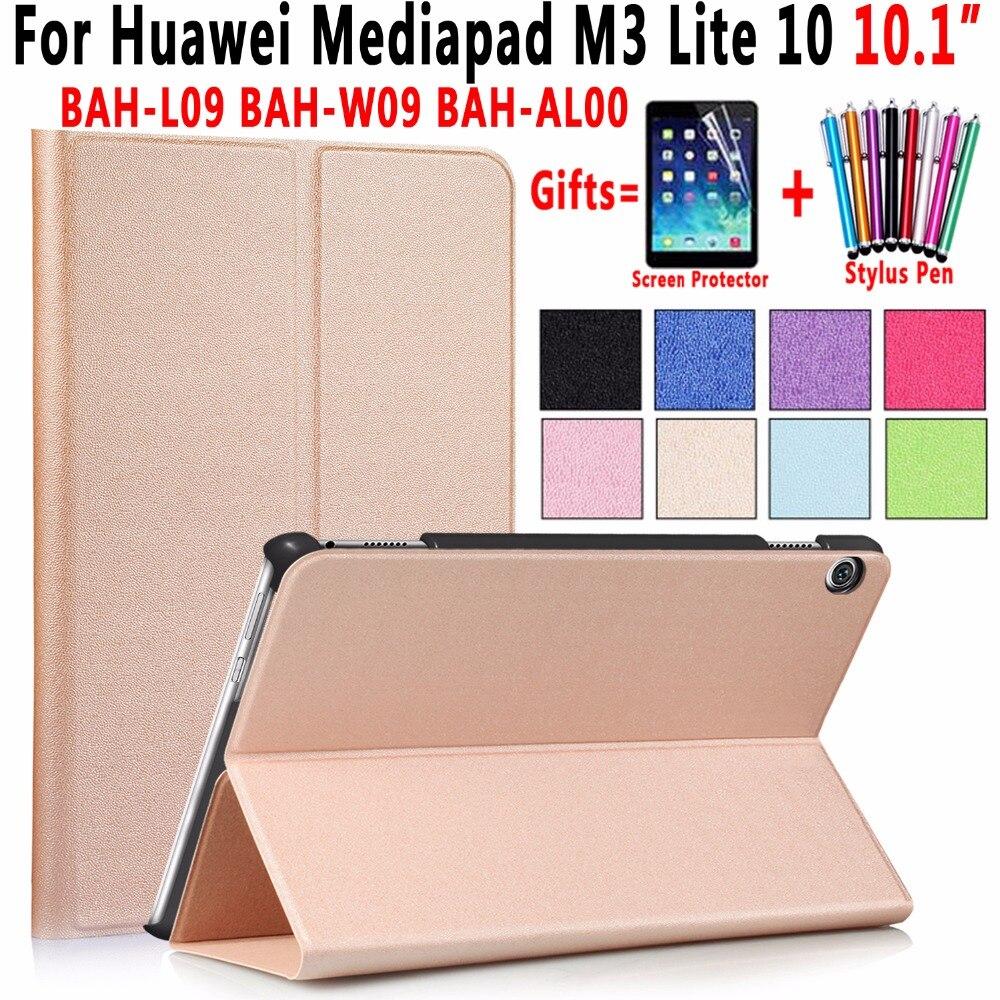 купить Magnetic Leather Smart Auto Awake Sleep Cover Shell Case Stand Holder for Huawei Mediapad M3 Lite 10 10.1 inch Coque Capa Funda по цене 659.75 рублей