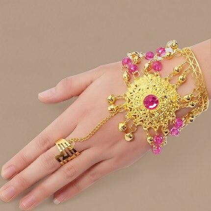 Dance Wear Bollywood Jewelry For Dance Bracelets Gold Wristband Indian Jewelry Accessories Bracelets