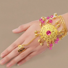 Dance Wear Bollywood Jewelry for Dance Bracelets Gold Wristband Indian Jewelry Accessories Bracelets