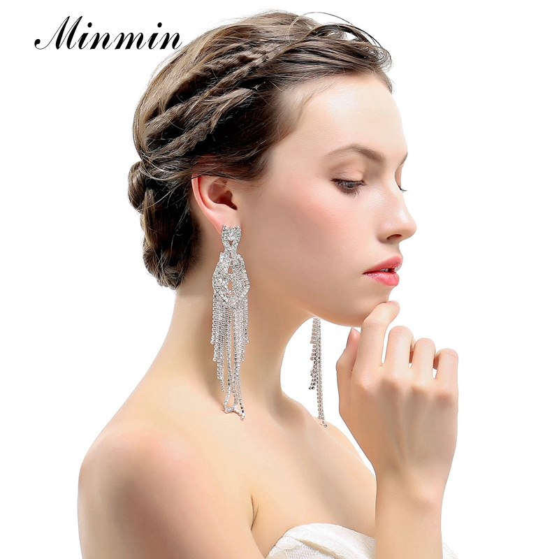 Minmin Statement Silver Color Crystal Long Tassel Drop Earrings for Women Luxury Wedding Bridal Jewelry Hanging Earrings MEH1000