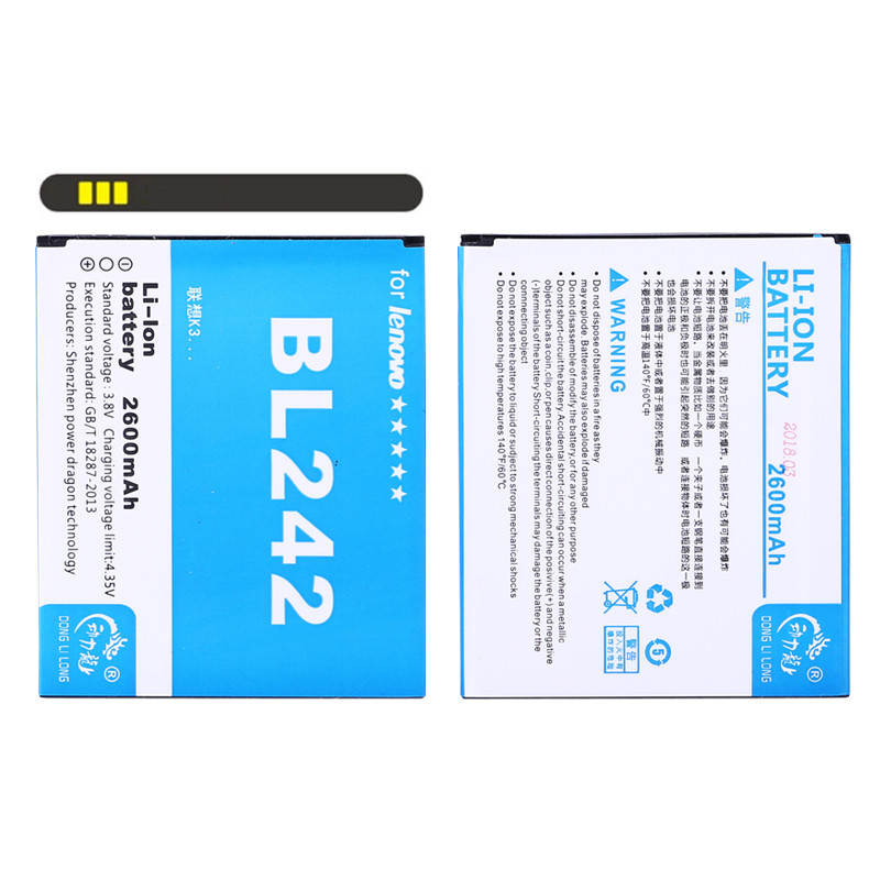 NEW DLL 2600mAh BL242 BL 242 Mobile Phone <font><b>Battery</b></font> For <font><b>Lenovo</b></font> A6000 A3860 A3580 A3900 LeMeng K30-T K30-W <font><b>A6010</b></font> Plus <font><b>A6010</b></font> Phone image