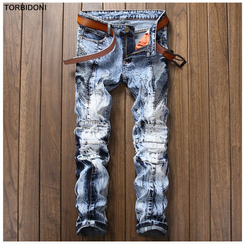 Denim Blue Patchwork Jeans Men Distressed Snow Washed Jeans Pleated Trousers High Quality Brand Clothing Men`s Scratched Jeans