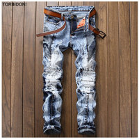 Denim Blue Patchwork Jeans Men Distressed Snow Washed Jeans Pleated Trousers High Quality Brand Clothing Men