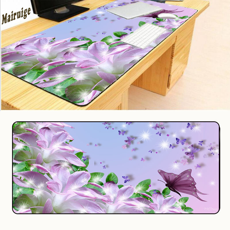 Mairuige Direct Butterfly Background Pattern Soft Desktop Pad Mousepads Optical Silicone Mouse Mat Anti-slip Lock Edge Pads