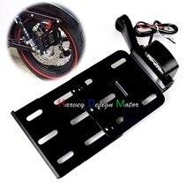 Best Buy Black Telescopic Folding LED Light Side Mount License Plate for Genuine Harley 2004UP Sportster XL 883 1200 48