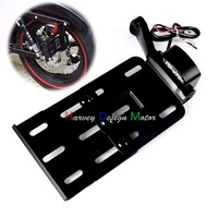 Black Telescopic Folding LED Light Side Mount License Plate For Genuine Harley 2004UP Sportster XL 883