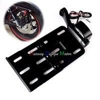 Black Telescopic Folding LED Light Side Mount License Plate For Genuine Harley 2004UP Sportster XL 883