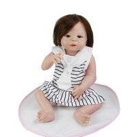 Корнями человеческие волосы куклы Reborn реалистичные для маленьких девочек 23 дюймов полный силиконовые винил реалистичные игрушки куклы с с