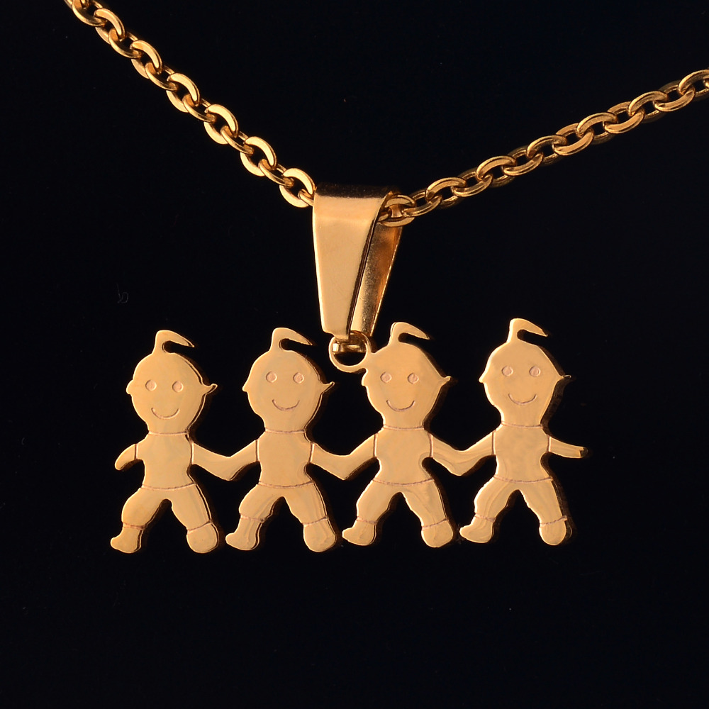 Gold Color Stainless Steel Children Pendant Necklace for Women Free Chain 50cm WWF018
