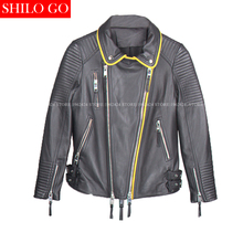 Plus size fashion women high quality Sheep leather lapel yellow hit color horizontal striped motorcycle genuine leather jackt
