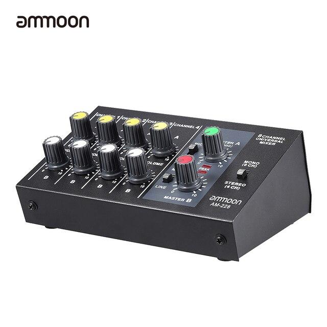 Ammoon AM-228超コンパクト低ノイズ8チャネル金属モノラルステレオオーディオサウンドミキサーで電源アダプタケーブル